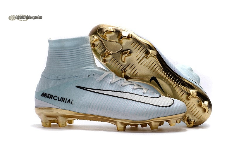Ventes pas cher Nike Mercurial Superfly CR7 FG Blanc Or