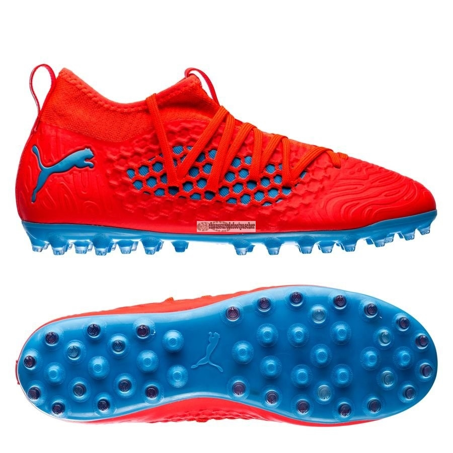 Ventes pas cher Puma Future 19.3 Netfit Enfant MG Power Up Rouge Bleu