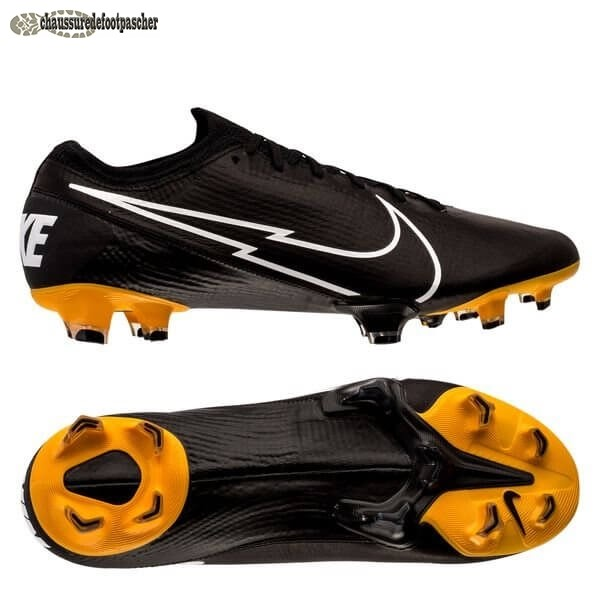 Ventes Pas Cher Nike Mercurial Vapor 13 Elite FG Leather Tech Craft Noir Blanc Or